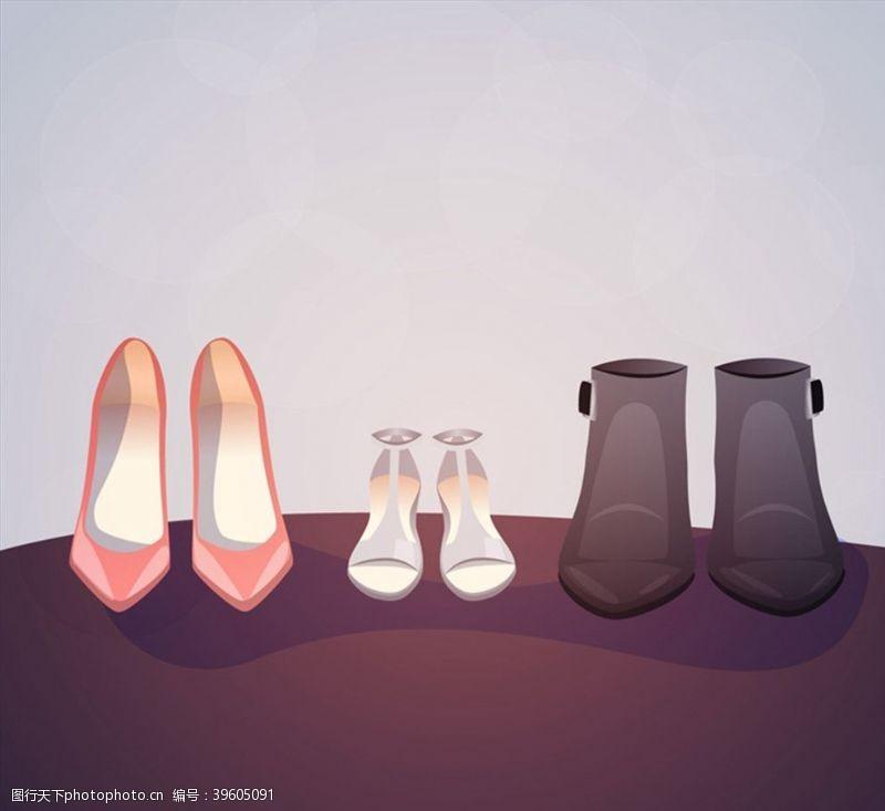 高跟鞋女式鞋子矢量图片