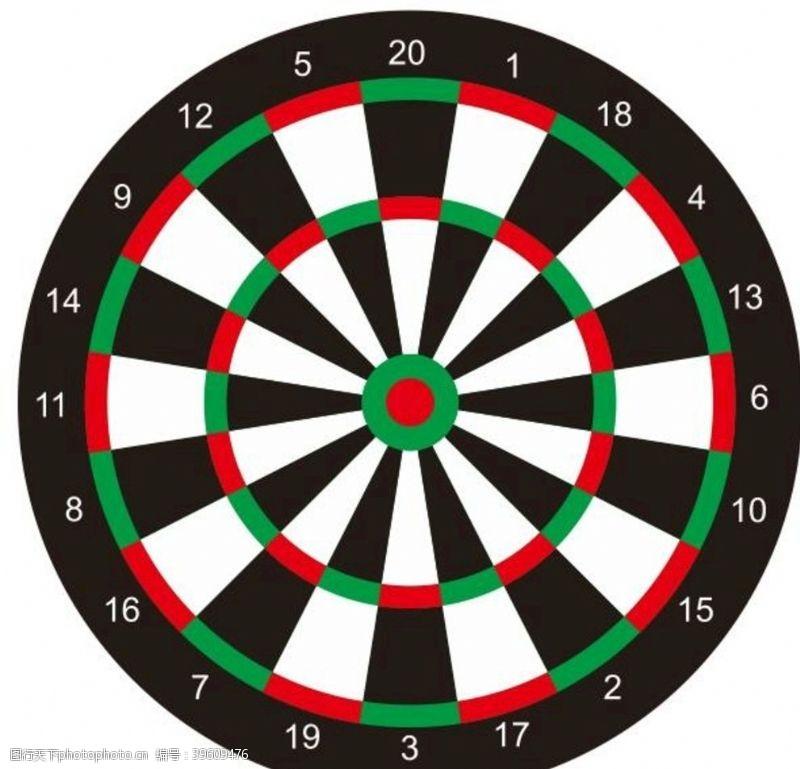 体育项目矢量标准飞镖盘靶子图片