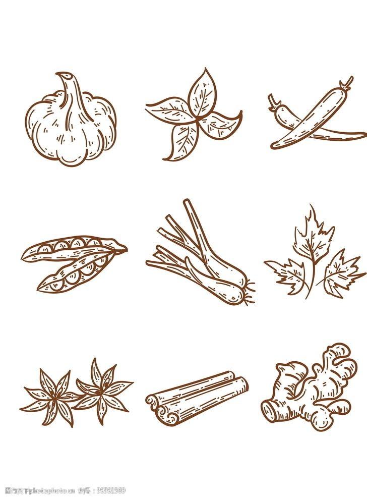 调味料手绘香料设计AI元素图片