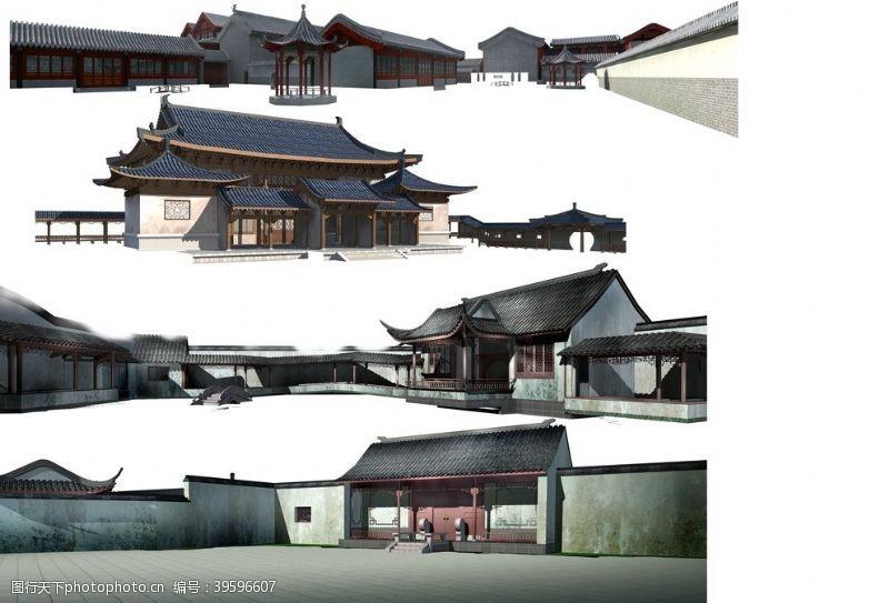 建筑模型四合院建筑图片