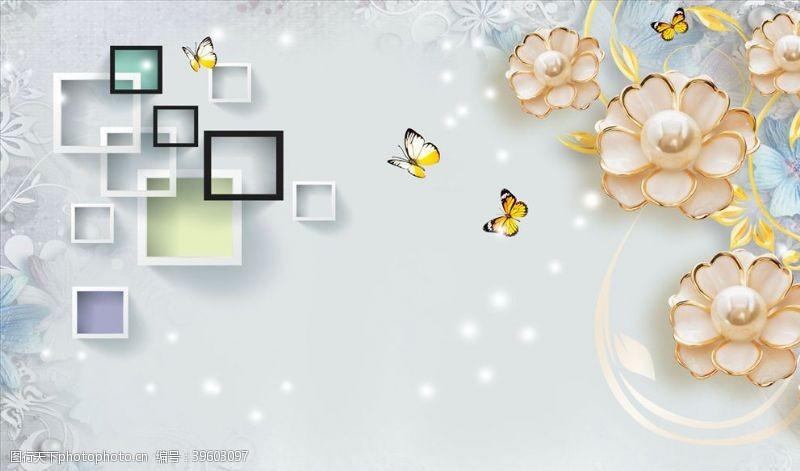 方框珠宝花沙发背景墙图片