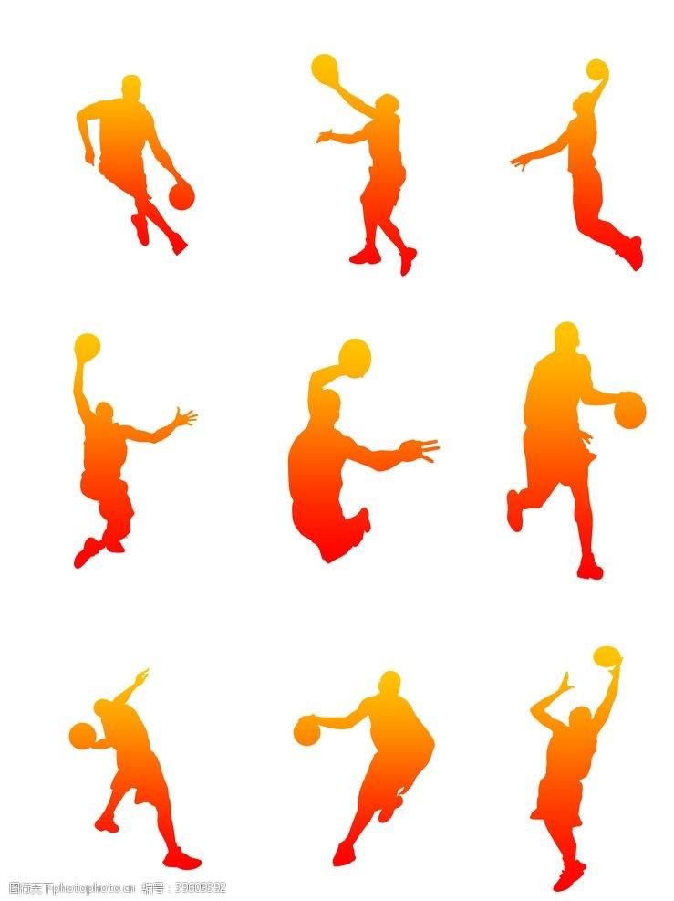 打球打篮球剪影图片