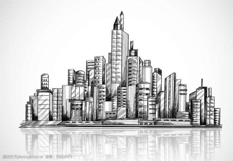 建筑线稿城市图片