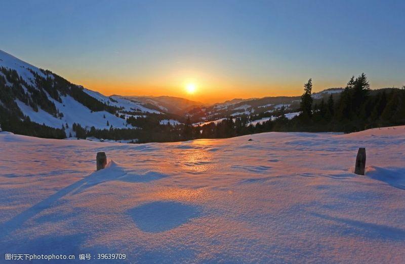 温度风景山自然雪太阳日出图片
