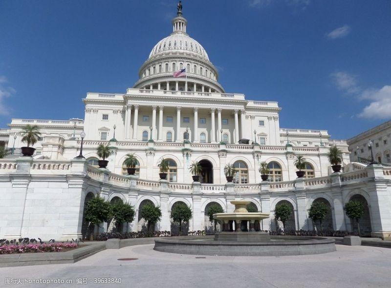 美国国旗美国国会大厦图片