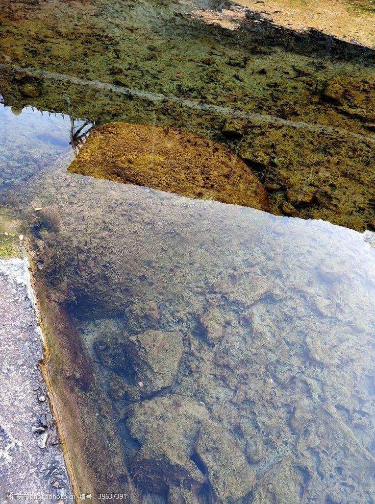 清澈的水水底图片