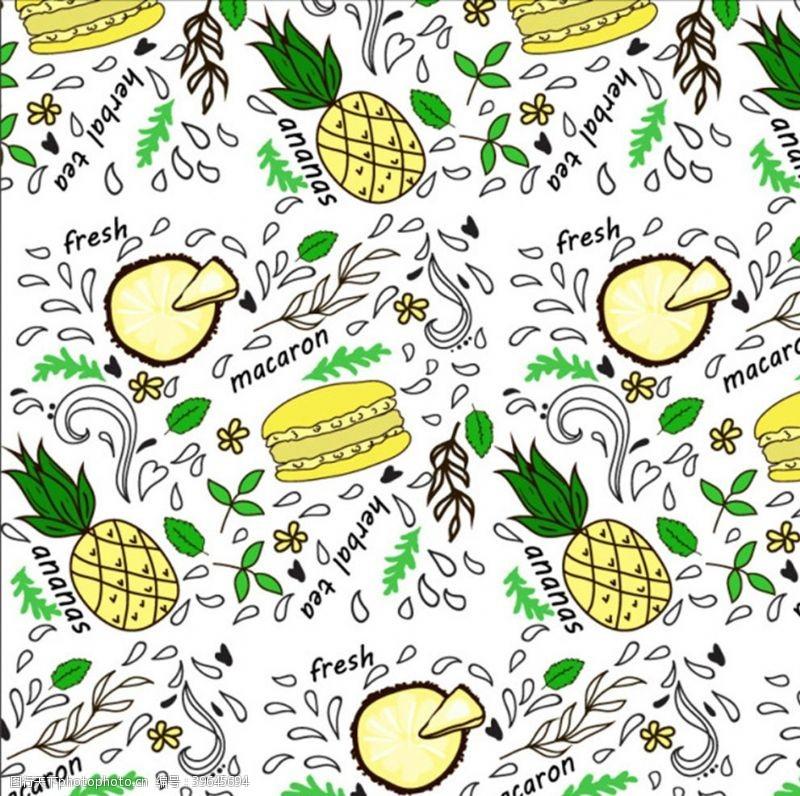 汉堡包和水果背景图片
