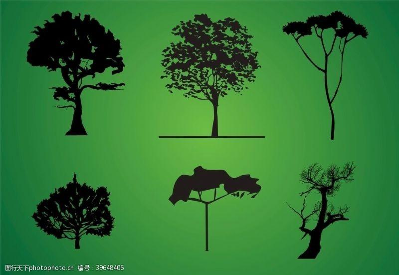 树木剪影图片