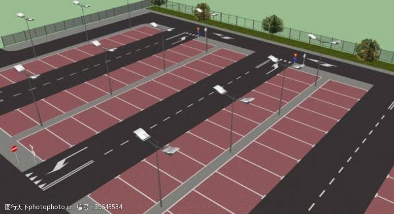 记分停车场su模型图片