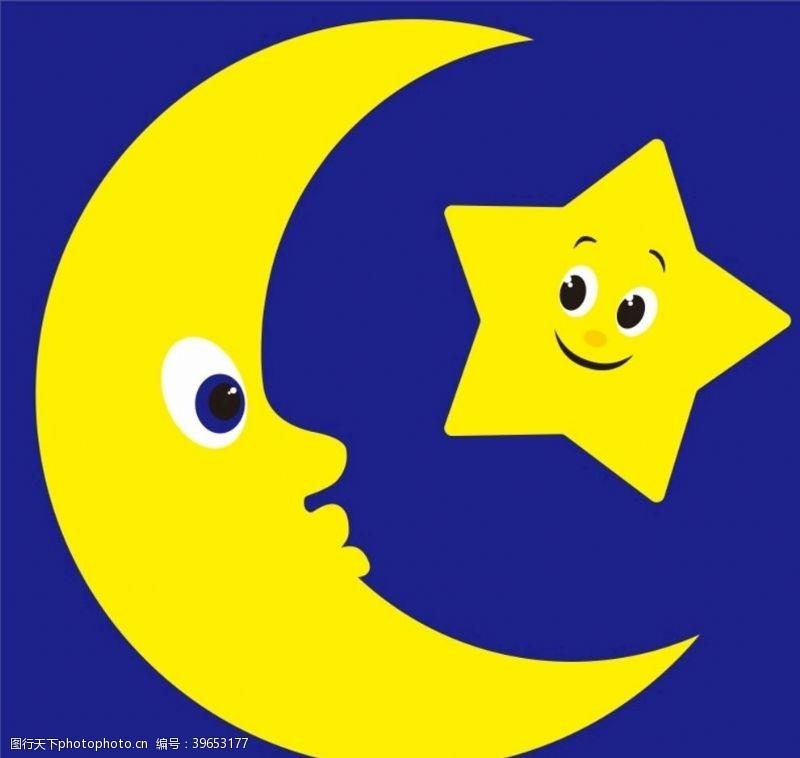 卡通月亮星星月亮上图片