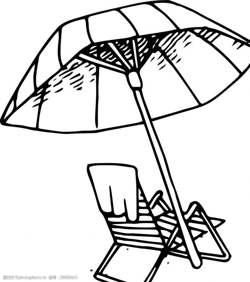 沙滩椅遮阳伞图片
