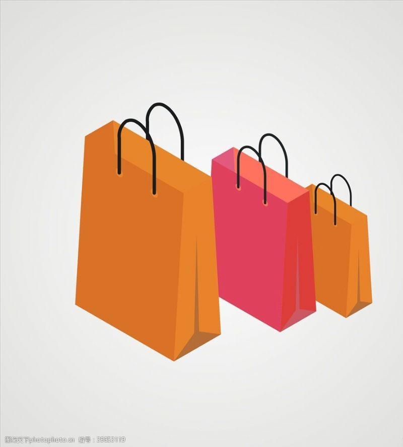 商业矢量购物袋矢量图片