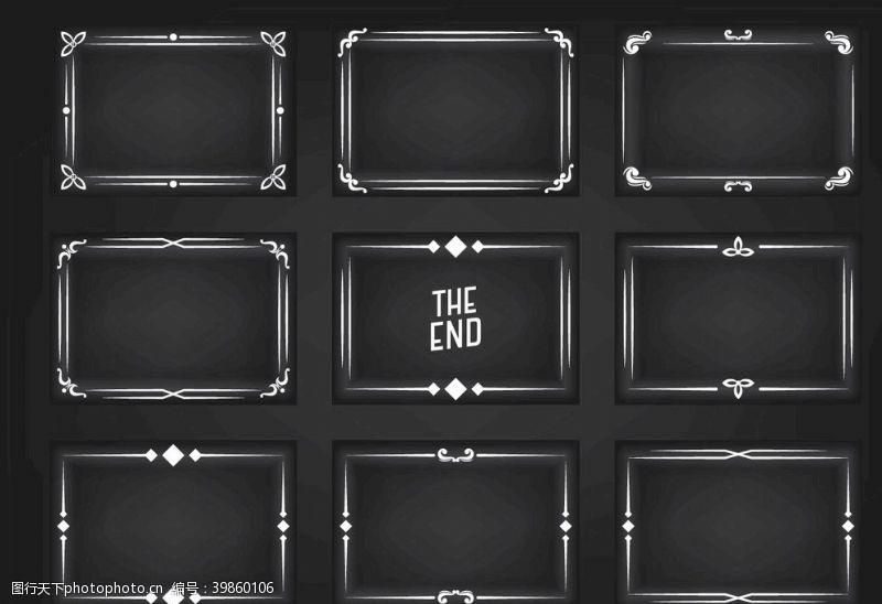 矢量边框黑色传统矢量复古边框图片
