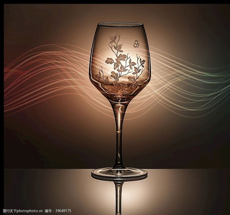 高脚杯酒杯高级花纹图片