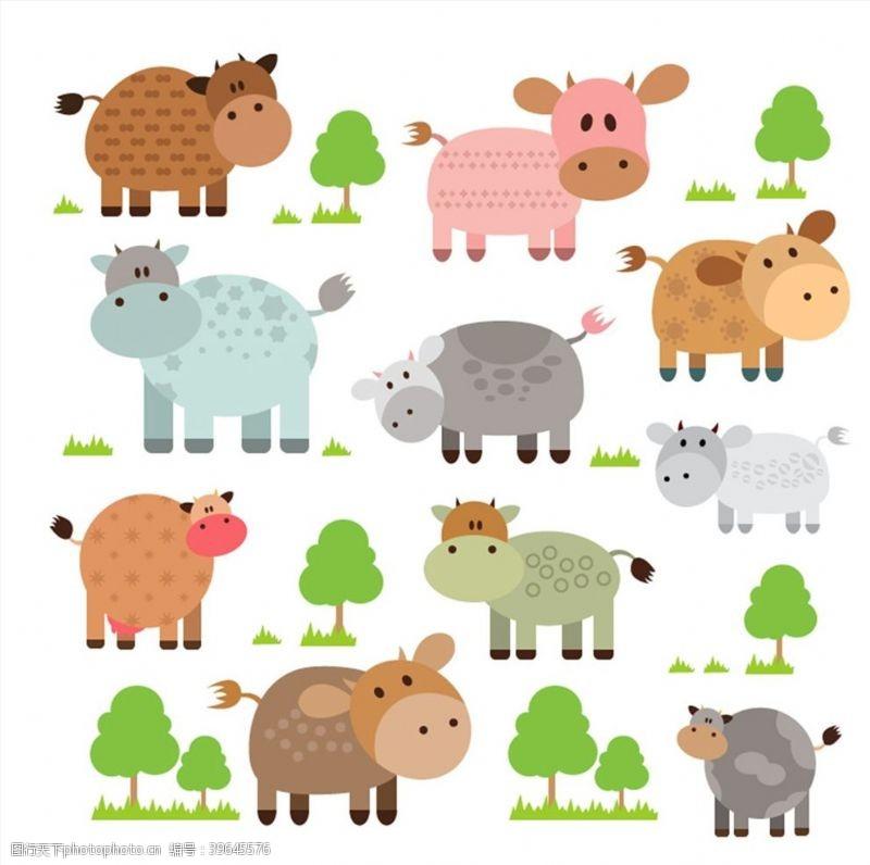 卡通奶牛卡通牛和树木图片