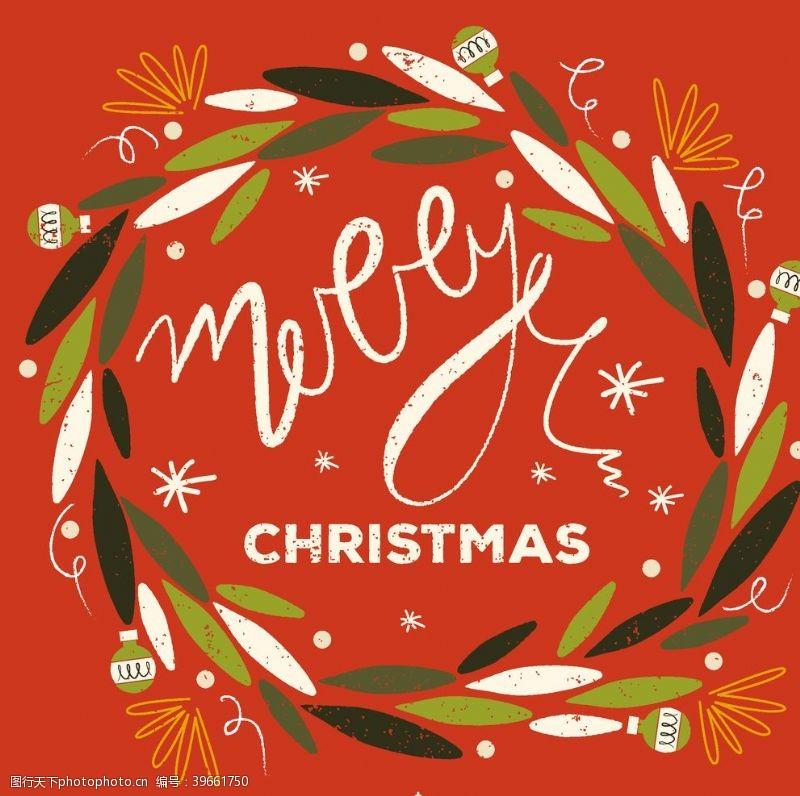 手绘图标圣诞花环图片