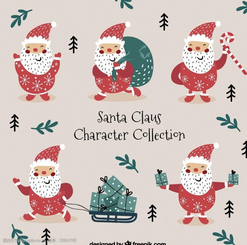 手绘图标圣诞老人合集图片