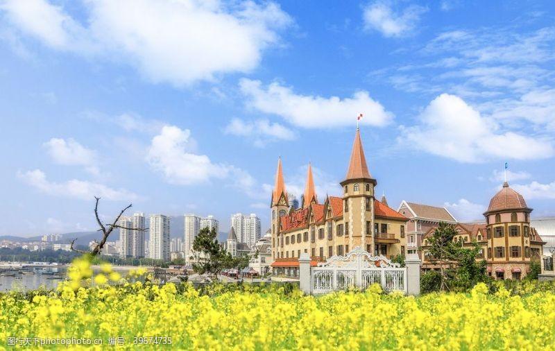 海蓝天油菜花城堡高楼图片