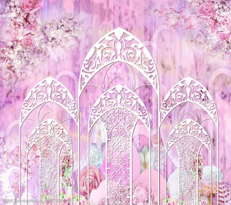 樱花背景粉色婚礼背景图片