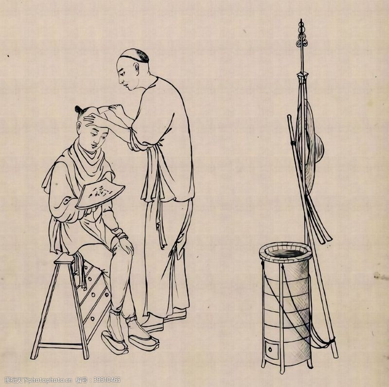 手绘背景古代三十六行手绘图片