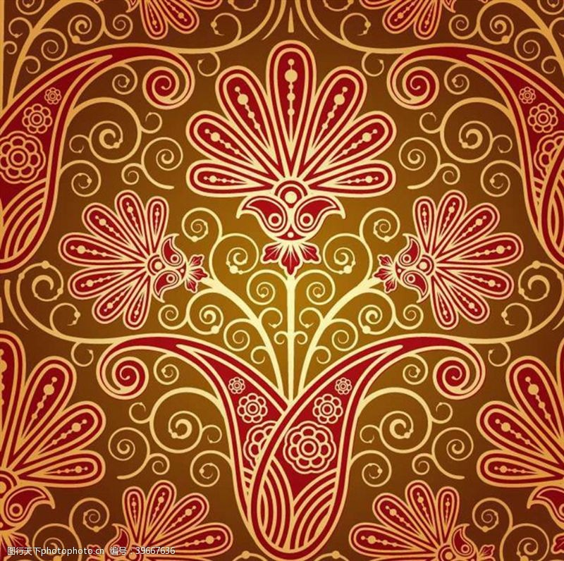 华丽红色花纹背景图片