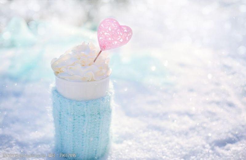 温度蓝色可爱雪糕图片