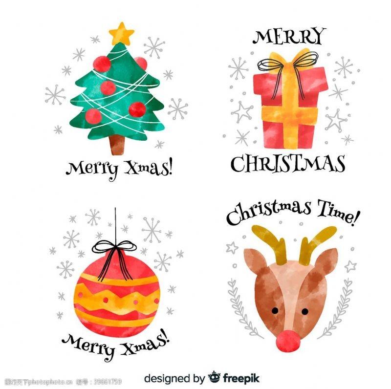 手绘图标圣诞水彩元素图片