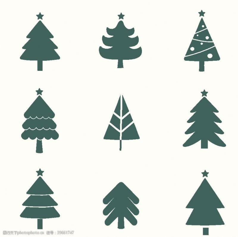 手绘图标圣诞树元素图片