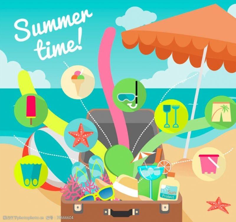 旅行箱夏季沙滩度假插画图片