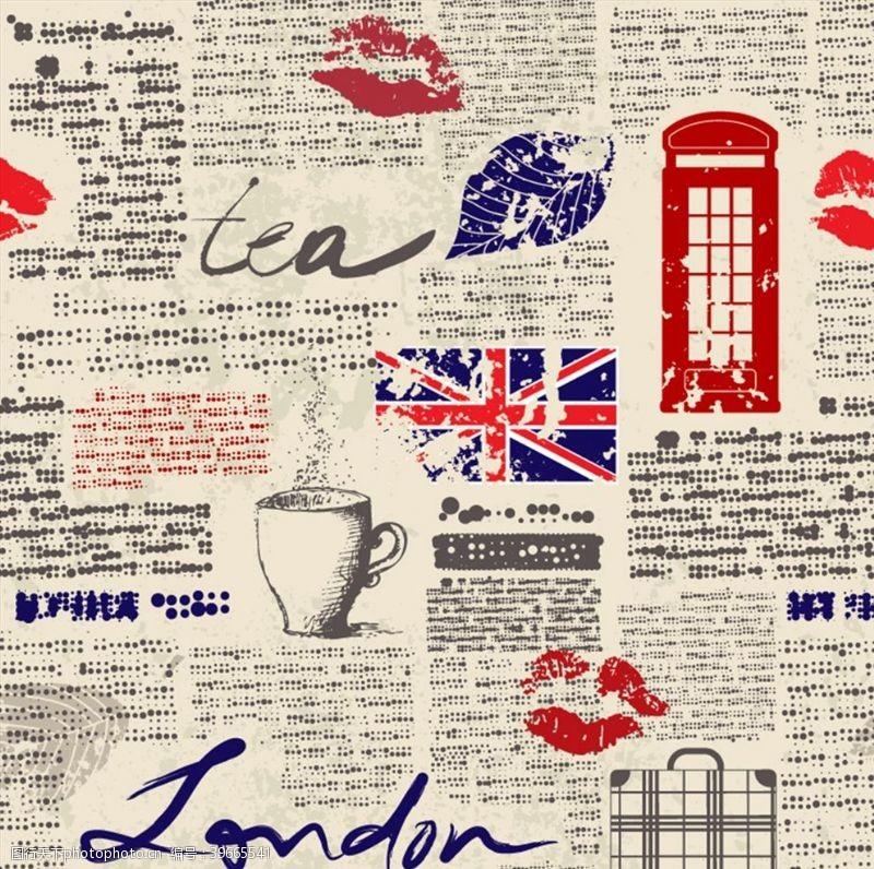 电话亭英国元素背景图片