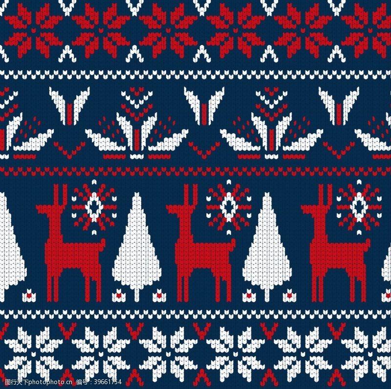 手绘图标针织风格圣诞背景图片