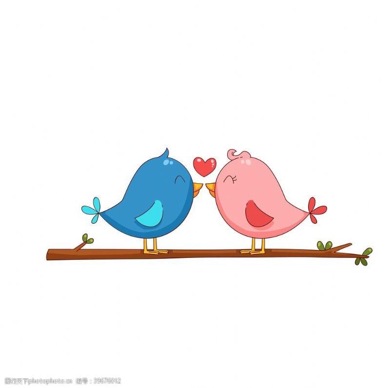 卡通爱情鸟树枝爱心插画素材图片