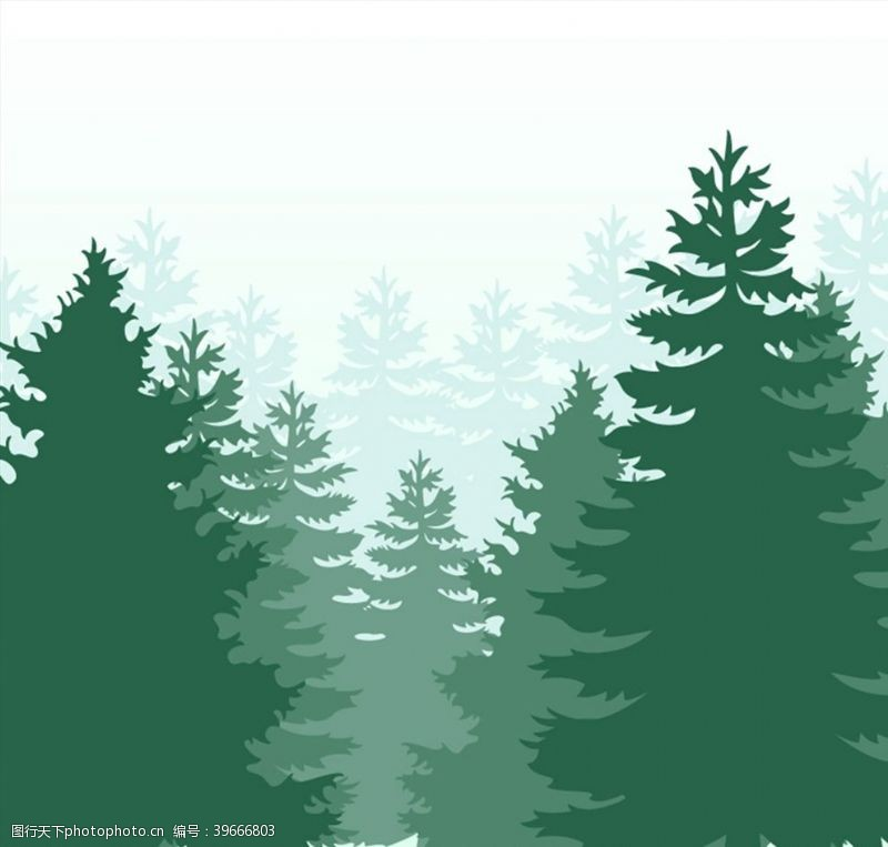 树木剪影绿色森林剪影图片