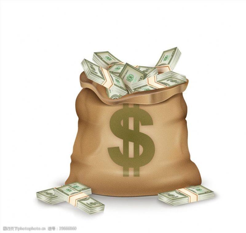美元符号的钱袋子图片