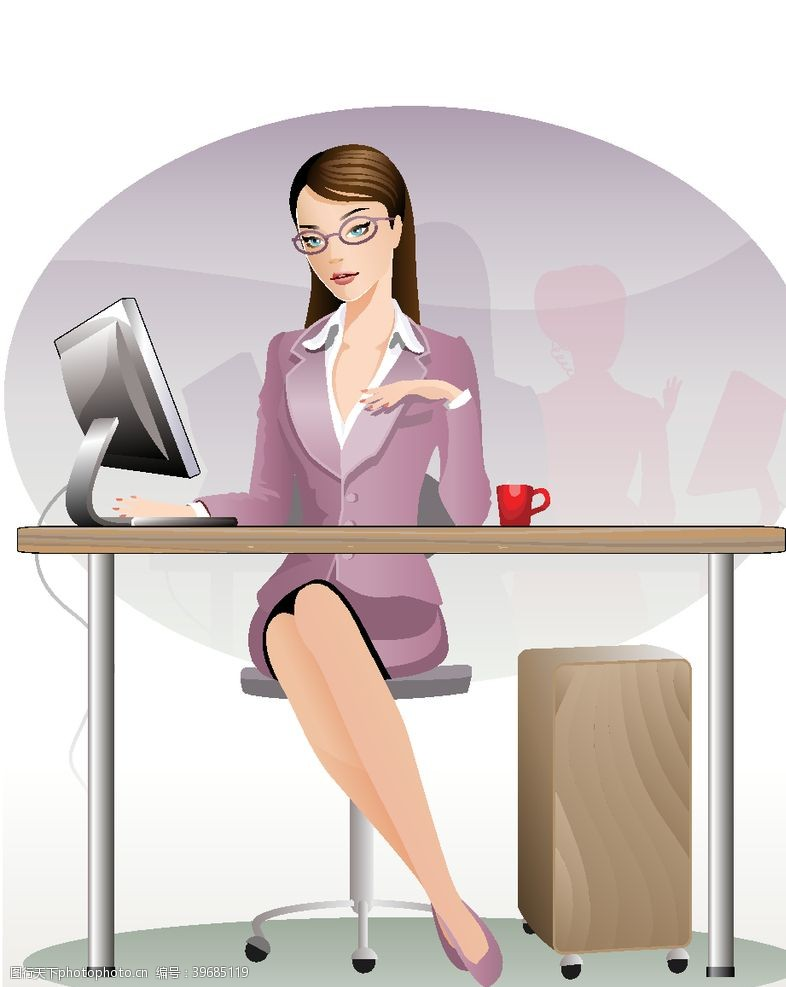 职业女性女性白领矢量图片