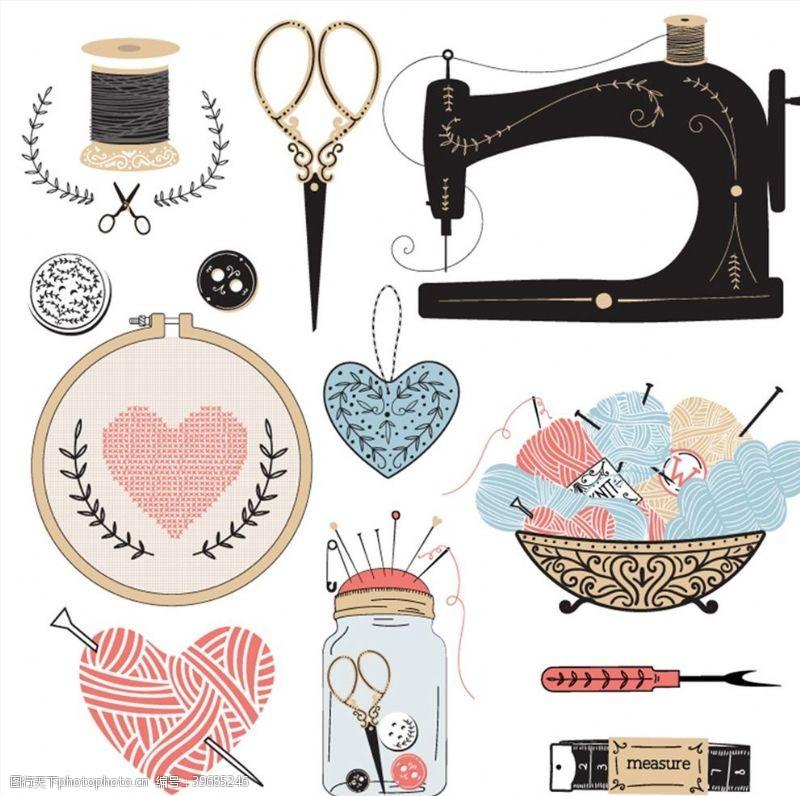 缝纫机手工缝纫元素图片