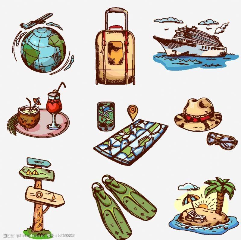旅行箱手绘旅游矢量图片