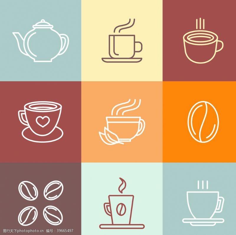 徽标线性咖啡图标图片