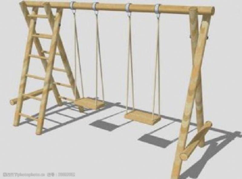 一体式木架梯秋千SU模型图片
