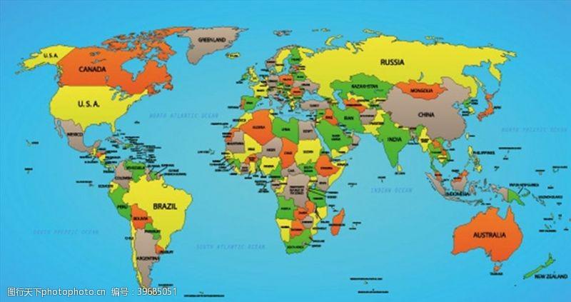 彩色矢量世界地图图片