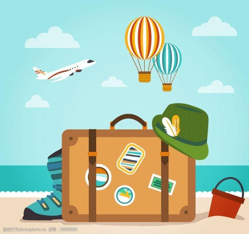 度假旅行箱插画图片