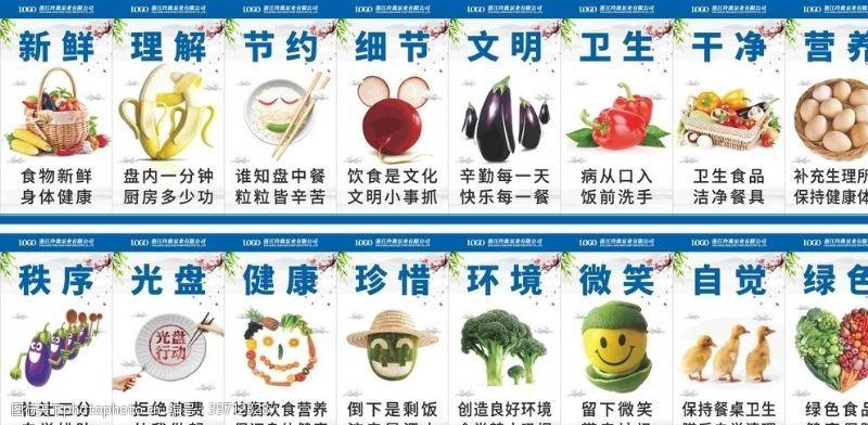 企业食堂文化公司学校食堂餐厅标语系列展板图片
