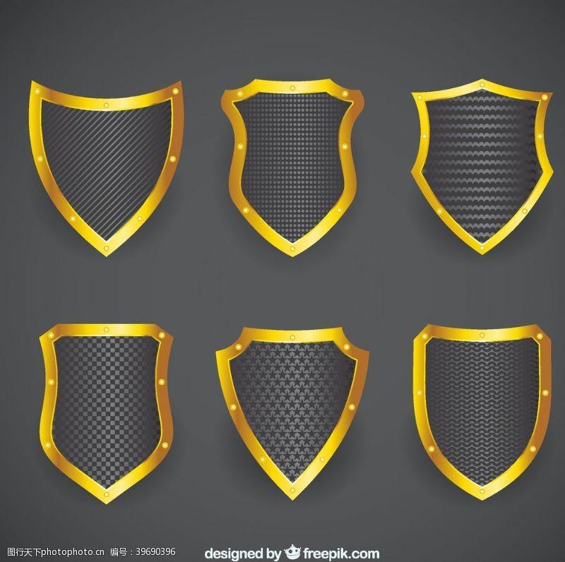 金属盾牌金边盾牌矢量图片