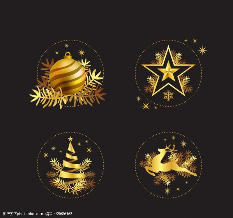 金色圣诞元素图片