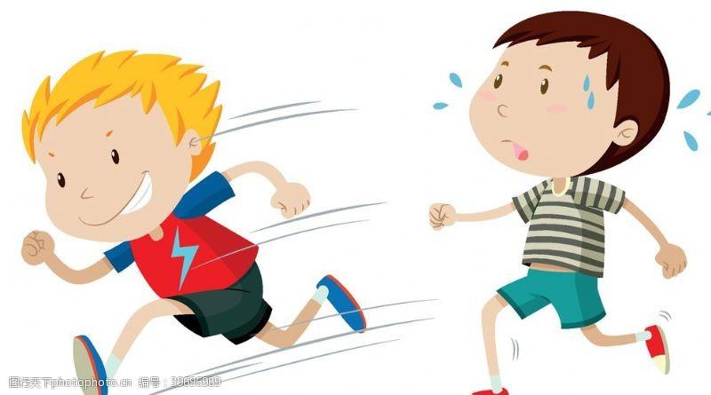 踢球卡通儿童图片