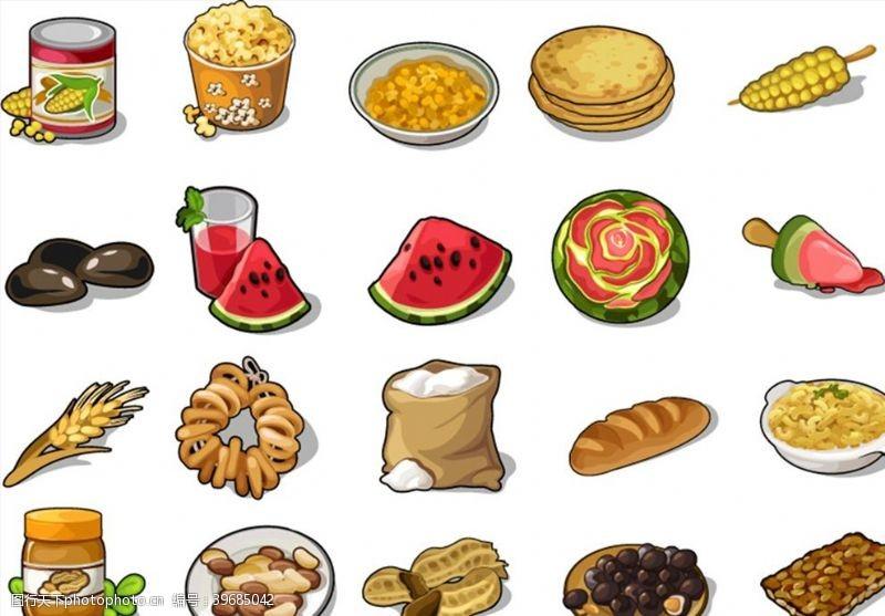 爆米花食品图标矢量图片