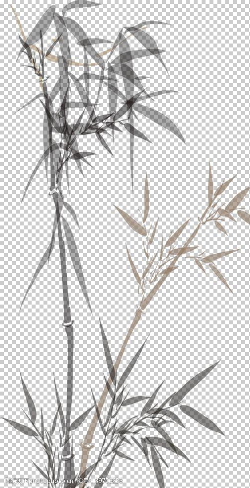 水墨山峰水墨竹子图片