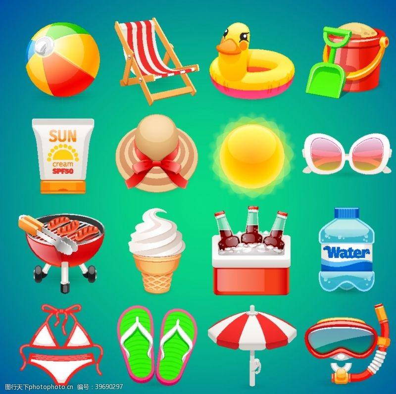 太阳眼镜夏季主题图标矢量图片