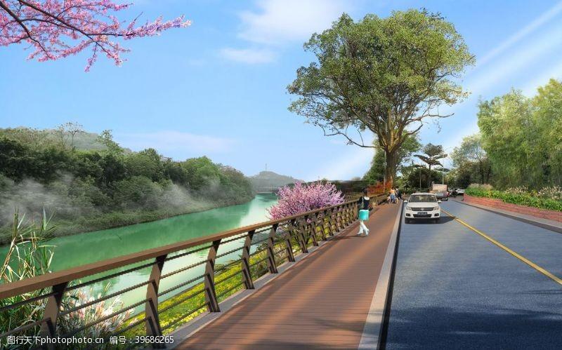 乡村旅游滨河栈道图片