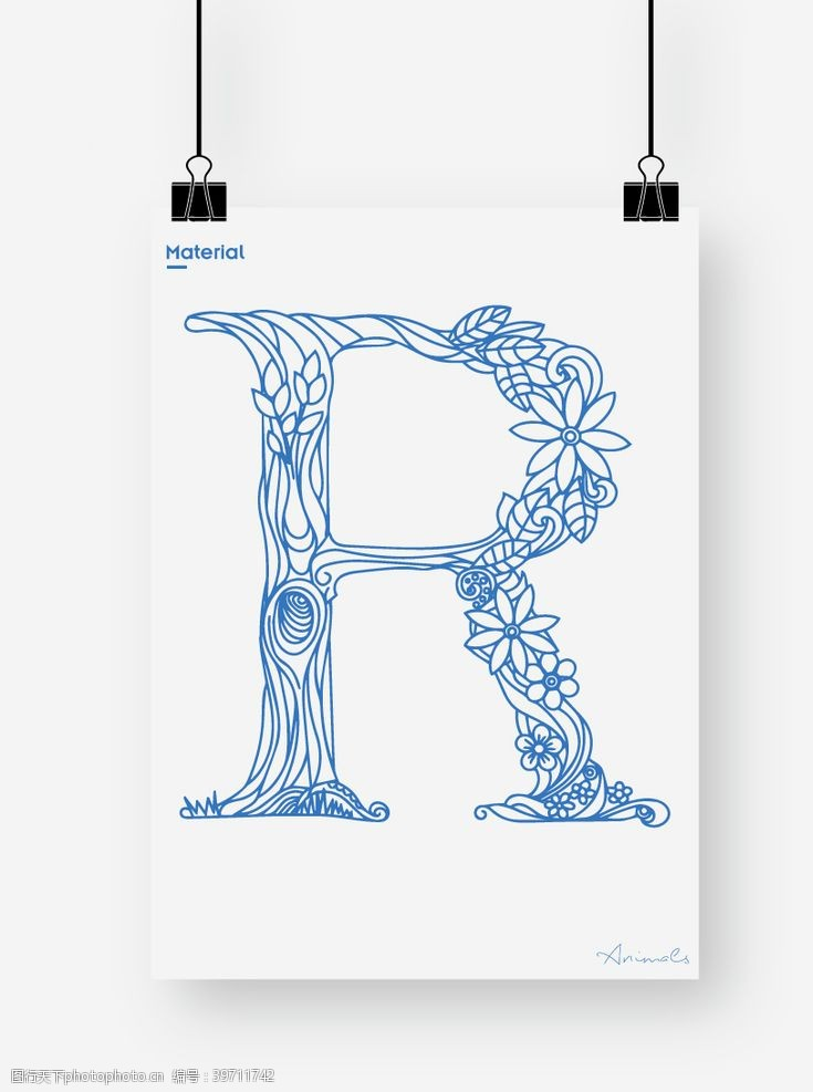 建筑花纹英文字母R图片